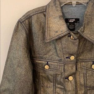 Coffee Shop gold distressed denim jacket NWOT